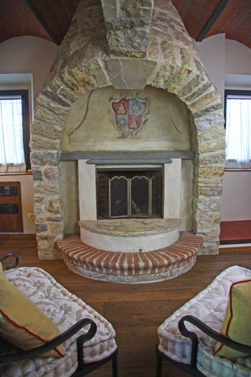 Historic fireplace in a country mansion exclusive atmosphere