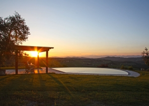 Swimming pool on the hills of the Tuscan countryside